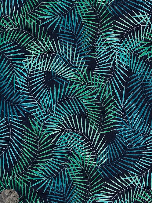 Green & Blue Ferns on Navy A0357