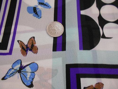 Butterflies on Blue & Black Viscose D0011