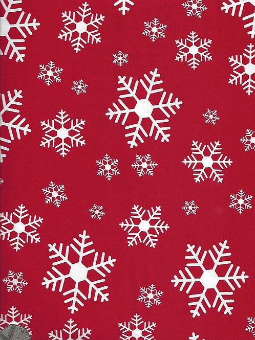White Snowflakes on Red C0046