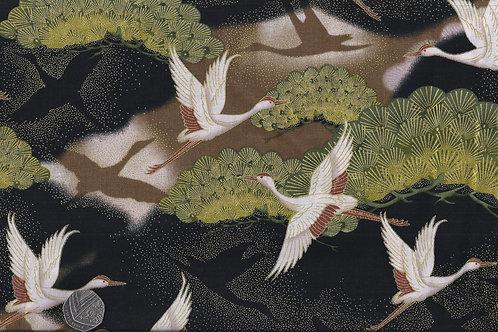 Cranes on Black & Gold A0047 Nutex
