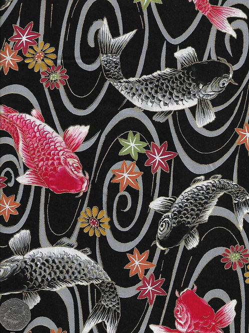 Black & Red Koi on Black Nutex A0258