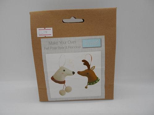Make Your Own Felt Polar Bear & Reinder K0021 Trimits