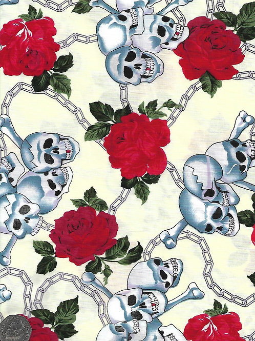 Skulls, Chains and Roses on Cream A0546