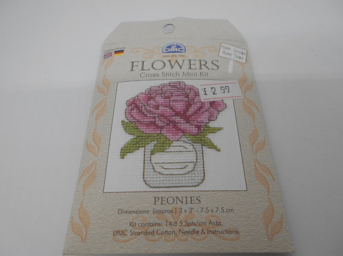 Mini Cross Stitch - Peonies