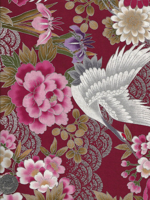 Cranes & Peonies on Red & Silver A0111 Nutex