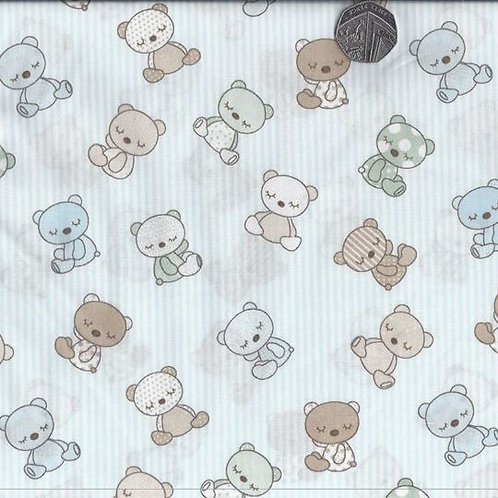 Teddy Bears on Blue Stripe 144cm wide A0031