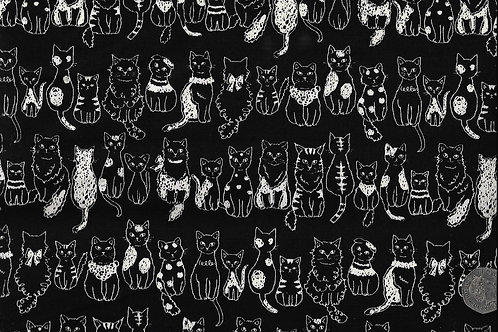 Cats on Black A0734 Nutex