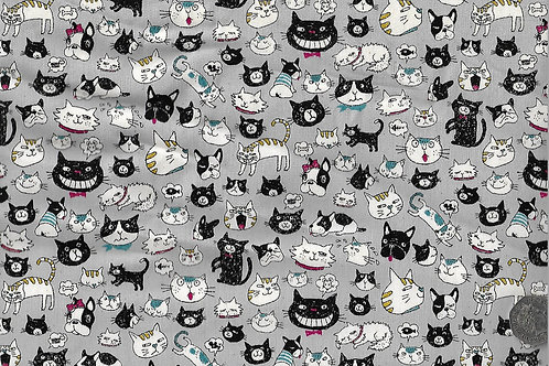 Cats & Cat Heads on Grey A0728 Nutex 68800 102
