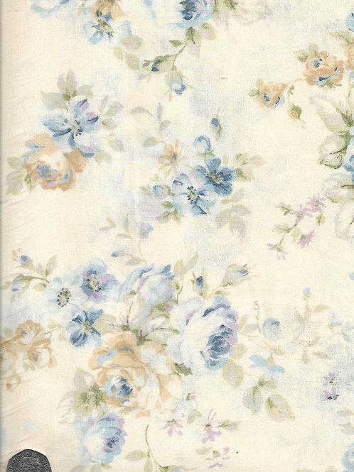 Large Cream & Blue Roses on Cream A0740 Nutex 21490 103