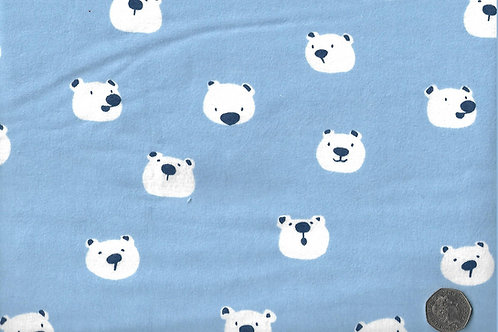 Polar Bear Heads on Blue Wincyette F0021