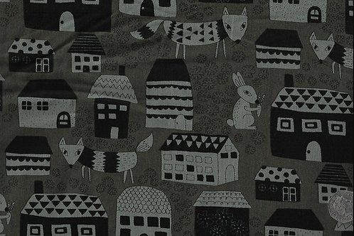 Foxes, Rabbits & Houses on Grey A0727 Nutex 68930 101