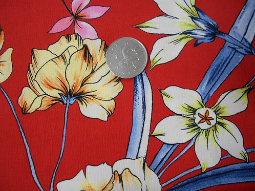 Flowers on Red Viscose D0014