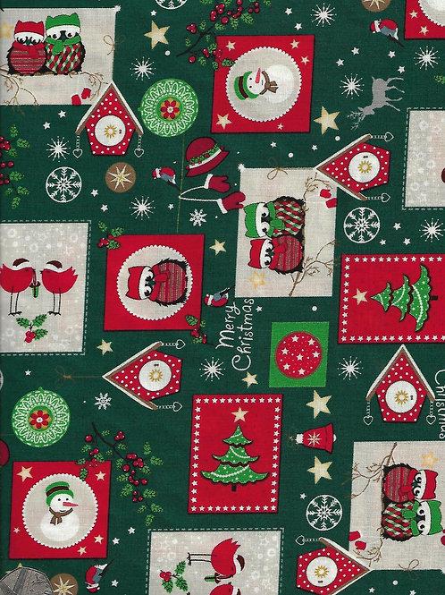Merry Christmas Owls on Green C0048