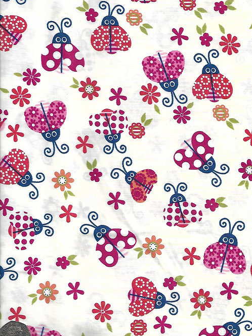 Lady Bugs & Flowers on Cream A0623