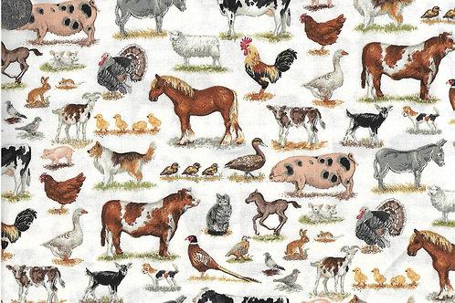 Farm Animals - Mixed Breeds on Cream A0657 Makower