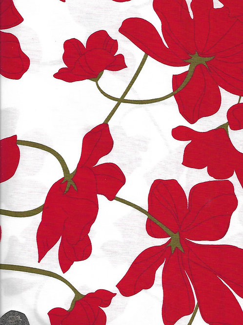 Red Flowers on White A0629