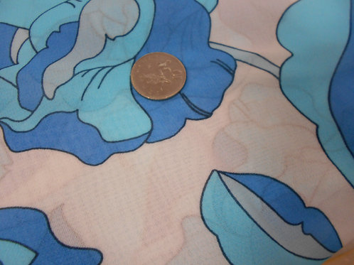 Blue Flowers on White Polyviscose D0003