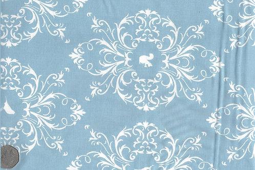 White Flora & Fauna on Blue A0161