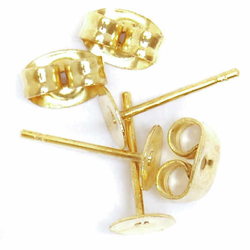 Flat Stud & Scroll Back Ear Posts Gold CF01/60302