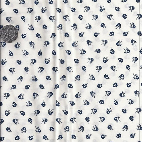 Navy Flowers on White A0526