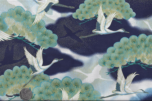 Cranes on Blue & Gold Nutex A0070