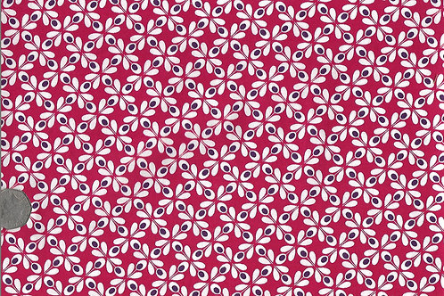 White Flowers on Red A0168 Gutermann