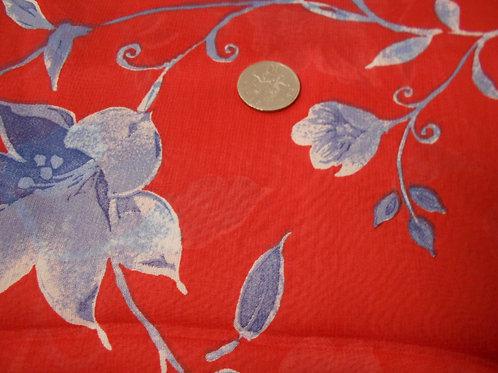 Blue Flowers on Red Polychiffon D0002