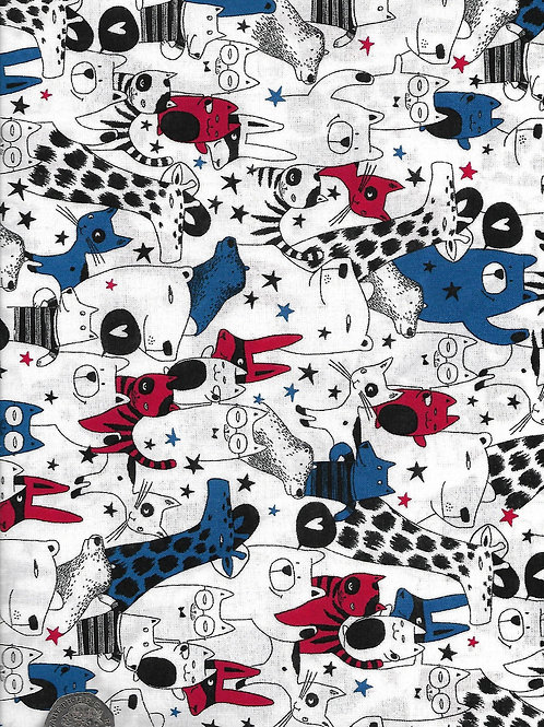 Animals - Black, Red, Blue & White A0733 Nutex