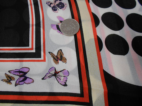 Butterflies on Red & Black Viscose D0010