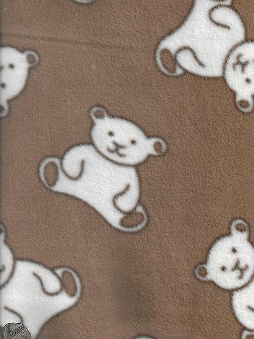 Teddy Bears on Brown Fleece F0002