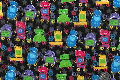 Robots on Black Wincyette F0024