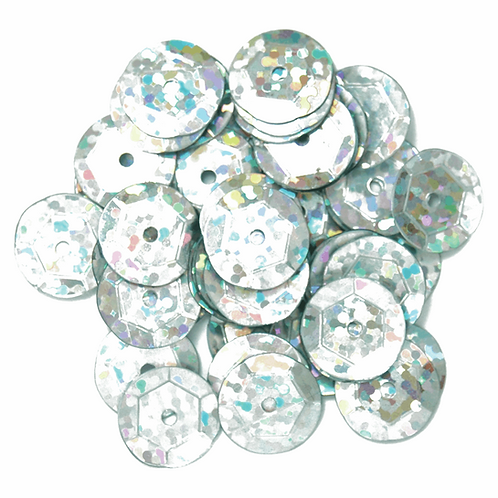10mm Hologram Cup Sequins Silver CF01/41101 5g