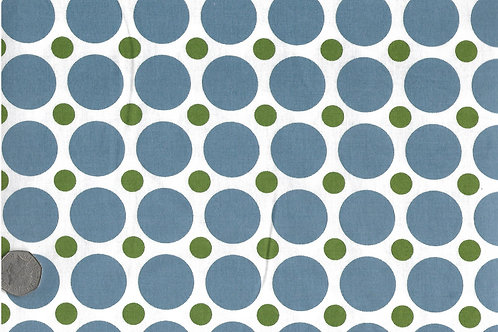 Blue & Green Dots on White A0174