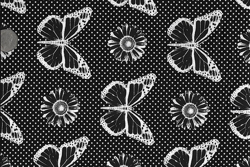 Butterflies White on Black Nutex A0029