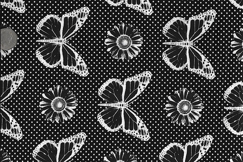 Butterflies White on Black A0029 Nutex