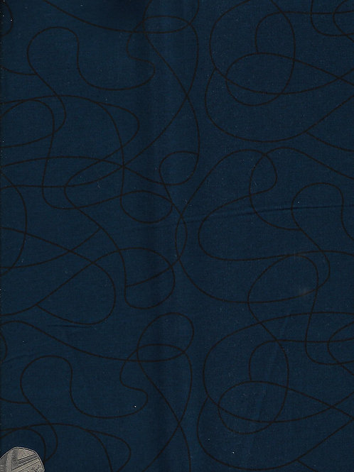Black on Navy Squiggles 2.8M Wide A0848 Nutex