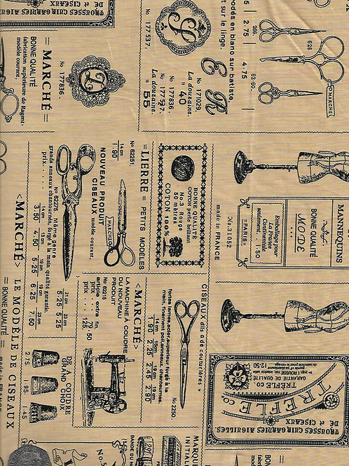 French Sewing Accessories on Tan A0749