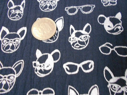 French Bulldogs on Blue Cotton D0023