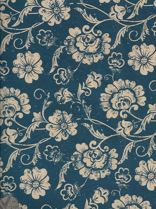 Beige Flowers on Blue A0302 Nutex 40010 111