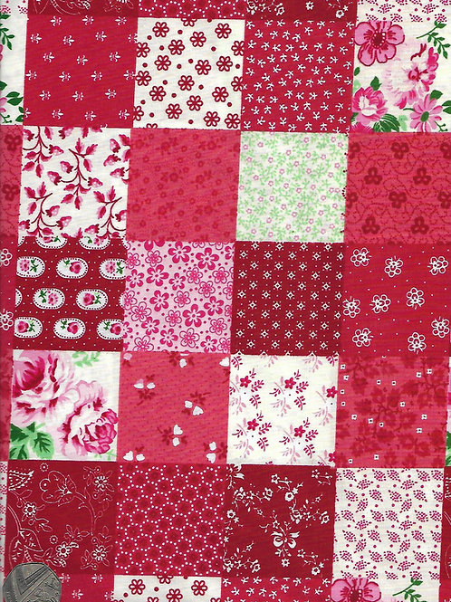 Red Patchwork A0441 Rose & Hubble