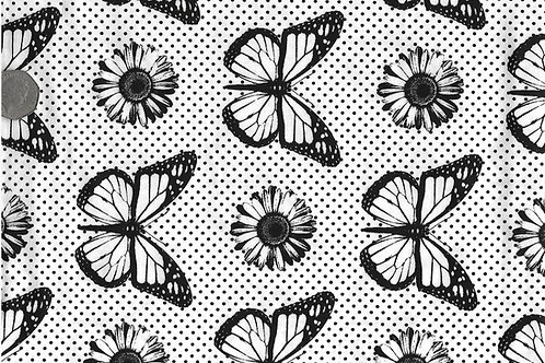 Butterflies Black on White A0030 Nutex