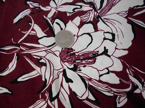 Cream Flowers on Burgundy Polyviscose D0015