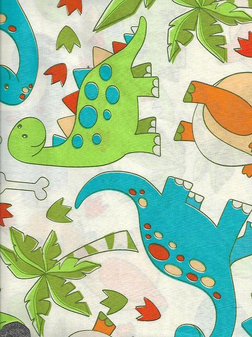 "Cartoon Dinosaurs on Cream A0823 144cm / 56"" wide"