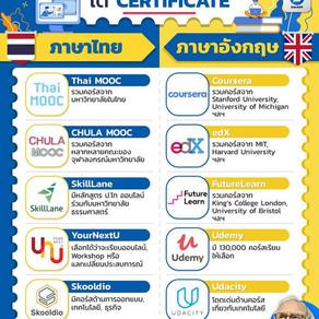 รวมลิงก์เว็บไซต์ แหล่งเรียนออนไลน์ ได้ Certificate ทั้งที่เรียนเป็นภาษาไทย และภาษาอังกฤษ