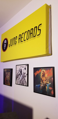 The imfamous Jung Records Panel and Signed Records on our front wall at our Studio