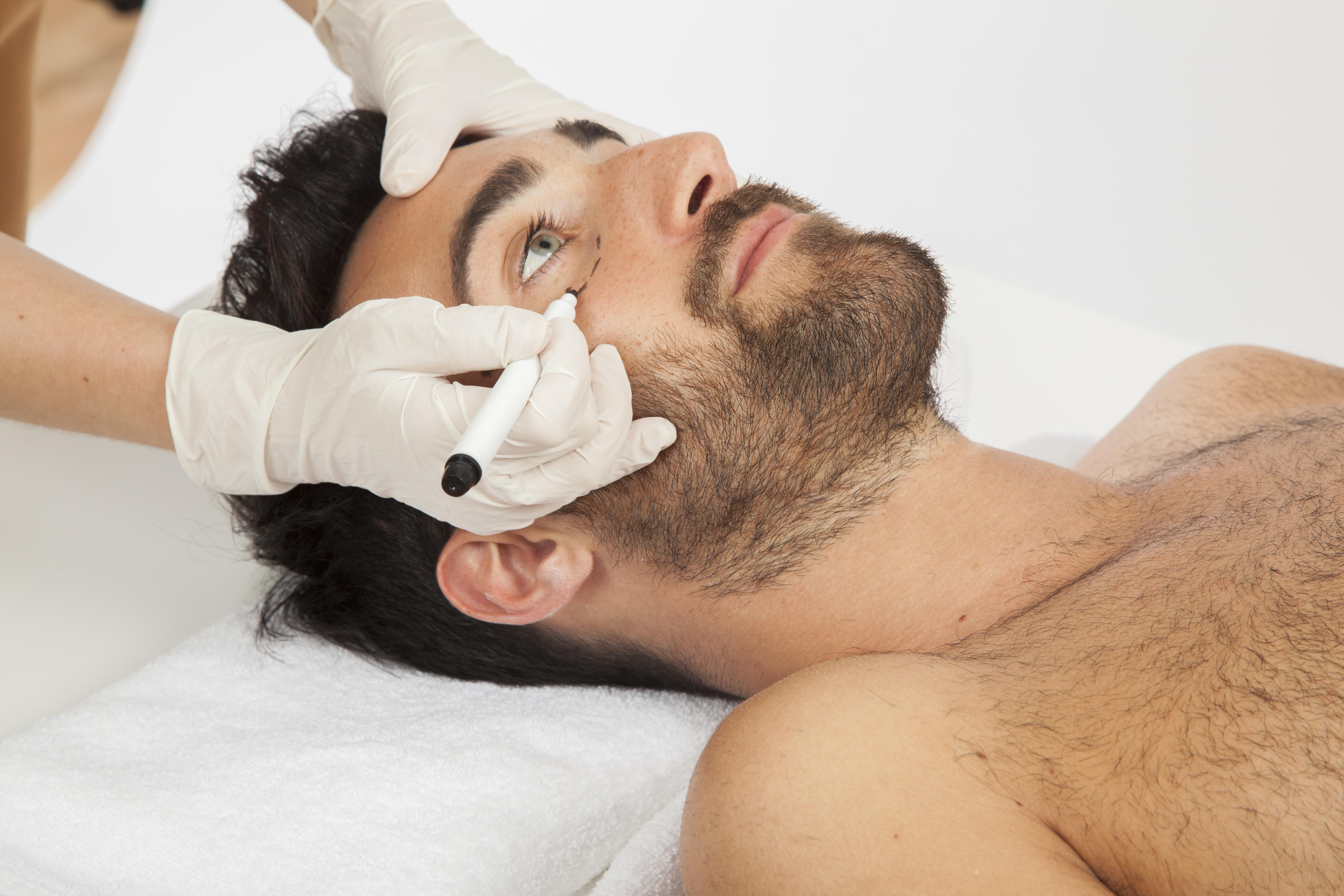 Homem tratamento estético