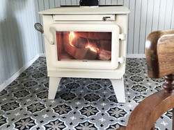 Wood stove in the dining room