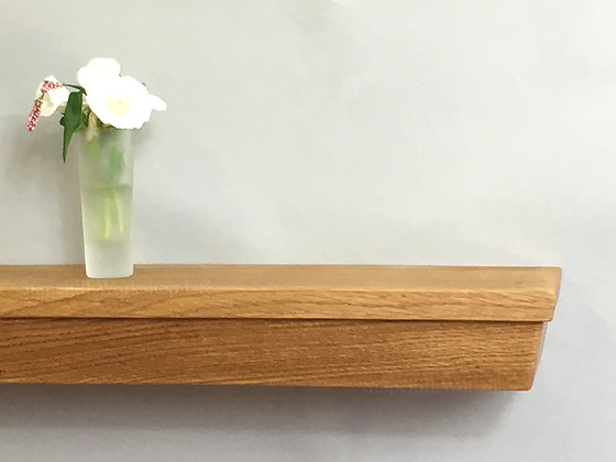 Angled Oak Floating Mantel Shelf, Fireplace Mantle Shelves