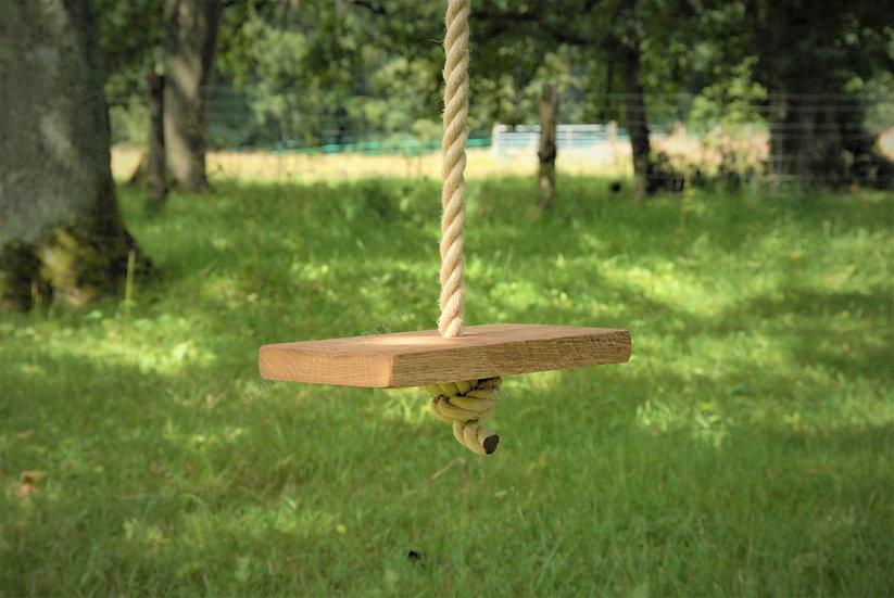 Rustic Oak Tree Swing - Monkey/Button Rope Outdoor Garden Swings