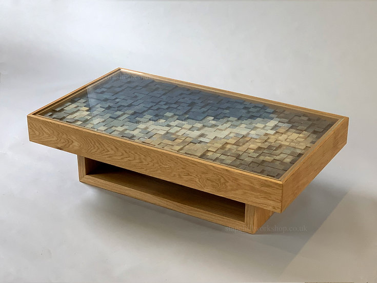 Coastal Solid Oak Coffee Table with Unique Artwork and Glass Top